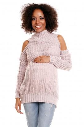 Ružový tehotenský sveter s otvormi na ramenách model 84338 PB