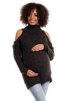Čierny tehotenský sveter s otvormi na ramenách model 84342 PB