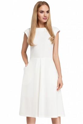 Biele šaty so skladanou sukňou a krátkymi rukávmi model 85022 me