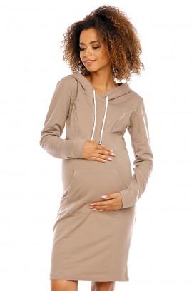 Béžové tehotenské šaty s kapucňou model 94412 pB