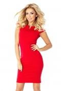 132-2 Krátke červené púzdrové šaty s krátkym rukávom