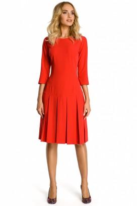 Červené midišaty so skladanou sukňou a 3/4 rukávom model 107530 me