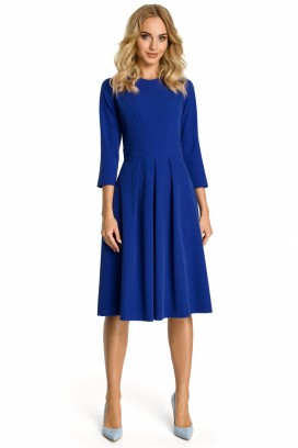 Modré midišaty so skladanou sukňou a 3/4 rukávom model 107533 me