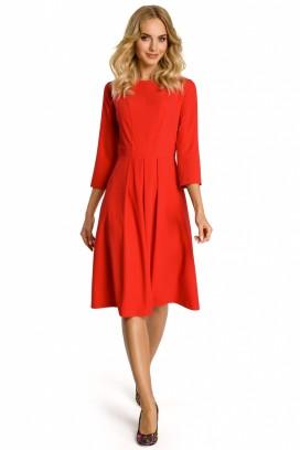 Červené midišaty so skladanou sukňou a 3/4 rukávom model 107534 me