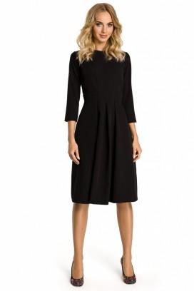 Čierne midišaty so skladanou sukňou a 3/4 rukávom model 107536 me
