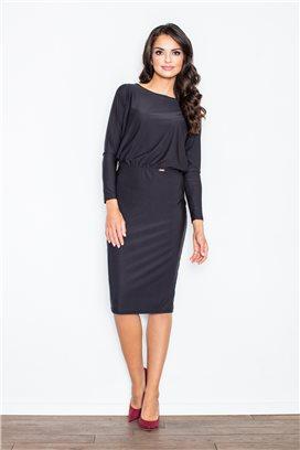 Čierne midišaty s úzkou sukňou a voľným vrchom model 43883 fl