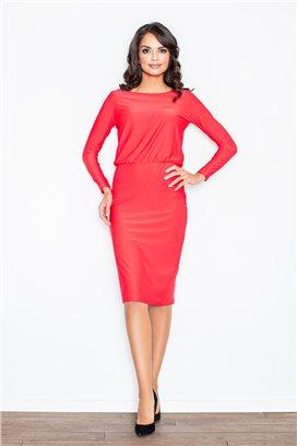Červené midišaty s úzkou sukňou a voľným vrchom model 43885 fl