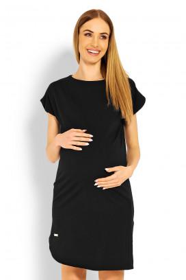 Tehotenské čierne šaty s krátkym rukávom model 114494 Pb
