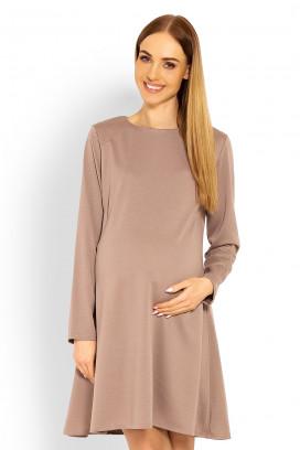 Tehotenské béžové šaty s kruhovou sukňou a dlhým rukávom model 114508 Pb