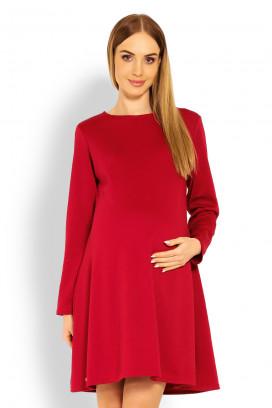 Tehotenské červené šaty s kruhovou sukňou a dlhým rukávom model 114509 Pb