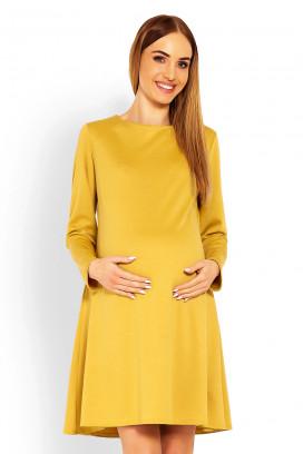 Tehotenské žlté šaty s kruhovou sukňou a dlhým rukávom model 114510 Pb