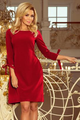 195-3 Krátke vínové šaty s viazaním na rukávoch
