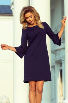 190-6 Krátke tmavomodré voľné šaty s volánikom na rukávoch a čipkovým lemovaním