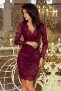 170-5 Krátke bordové čipkové spoločenské šaty s hlbokým výstrihom a dlhými rukávmi