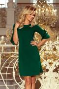 217-2 Krátke zelené šaty s volánikom a mašličkou na rukávoch