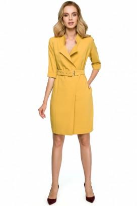 Krátke žlté púzdrové šaty s opaskom a 3/4 rukávom model 121937 se