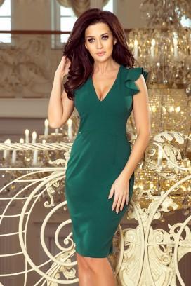 227-1 Krátke zelené púzdrové šaty s výstrihom a volánovými rukávikmi