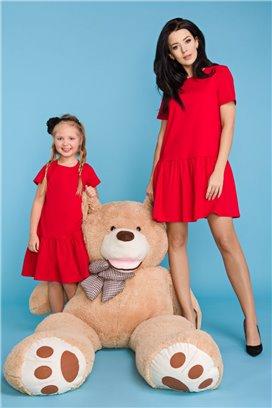MMD11-4 Červené šaty s volánovou sukňou - dcérka