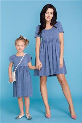 MMM14-3 Modré šaty s volánovou sukňou - mama