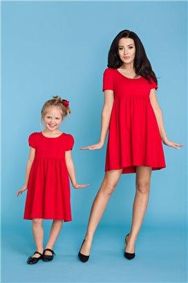 MMD14-4 Červené šaty s volánovou sukňou - dcérka