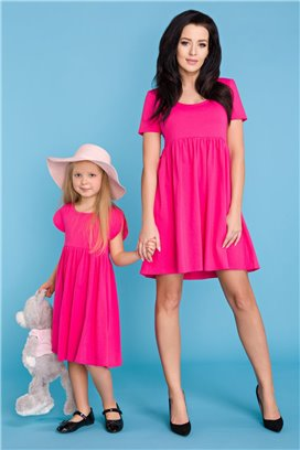 MMD14-2 Ružové šaty s volánovou sukňou - dcérka