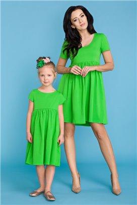 MMD14-1 Zelené šaty s volánovou sukňou - dcérka