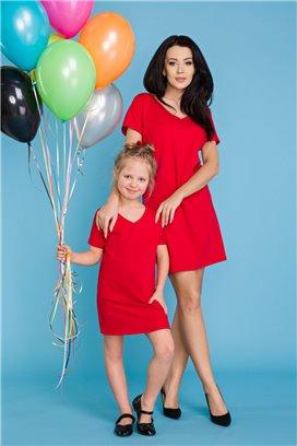 MMM18-2 Červené tričkové šaty - mama