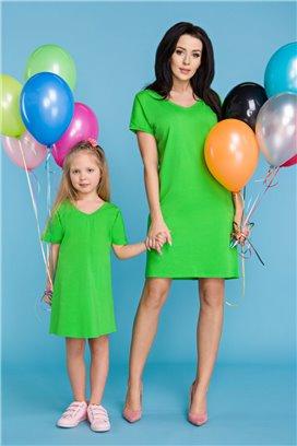 MMD18-1 Zelené tričkové šaty - dcérka