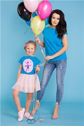 MMD20-3 Modré tričko s motívom baletky - dcérka