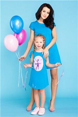 MMM21-2 Modré tričkové šaty - mama