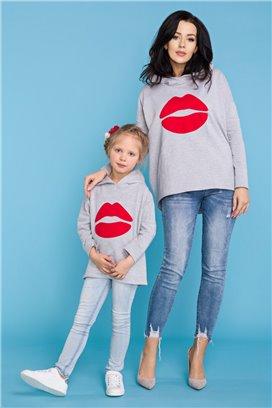 MMD22-1 Šedá mikina Kiss - mama