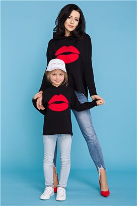 MMD22-2 Čierna mikina Kiss - dcérka