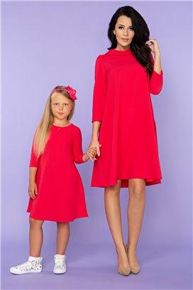 MMM24-5 Červené šaty s 3/4 rukávom- mama