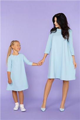MMM24-4 Modré šaty s 3/4 rukávom - mama
