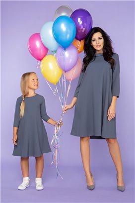 MMD24-1 Šedé šaty s 3/4 rukávom - dcérka