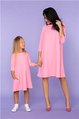 MMD24-2 Ružové šaty s 3/4 rukávom - dcérka