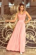215-4 Dlhé broskyňové plesové šaty s nariasenou širokou sukňou a čipkovým vrchom bez rukávov