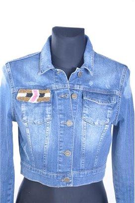 Liu Jo jeansová bunda s aplikáciou