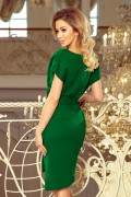 240-1 Krátke zelené púzdrové šaty s opaskom