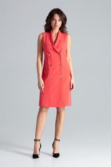 Krátke červené sakové šaty bez rukávov model 133214 lf