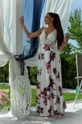 Dlhé biele spoločenské kvietkované šaty model 134069 ys