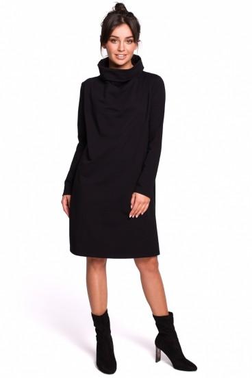 Krátke čierne voľné šaty s rolákom a dlhými rukávmi model 134533 BE