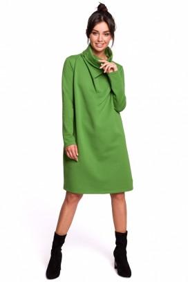 Krátke zelené voľné šaty s rolákom a dlhými rukávmi model 134535 BE