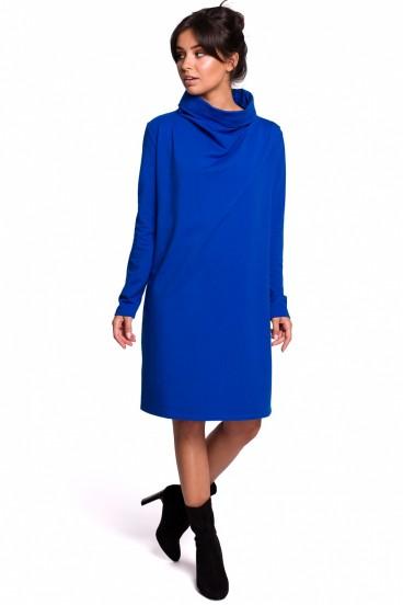 Krátke modré voľné šaty s rolákom a dlhými rukávmi model 134536 BE