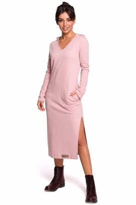 Dlhé ružové športové šaty s kapucňou, vreckami a rozparkom model 134549 BE
