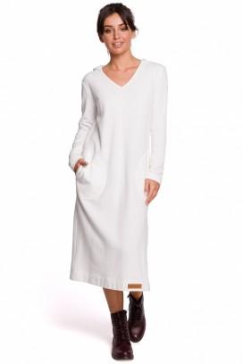 Dlhé biele športové šaty s kapucňou, vreckami a rozparkom model 134551 BE