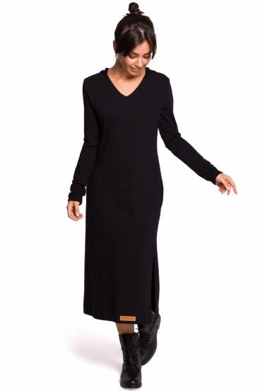 Dlhé čierne športové šaty s kapucňou, vreckami a rozparkom model 134552 BE