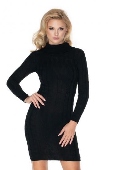Krátke čierne úpletové šaty model 134589 Pb