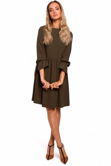 Krátke khaki zelené voľné šaty s nazberanou sukňou model 135450 mE