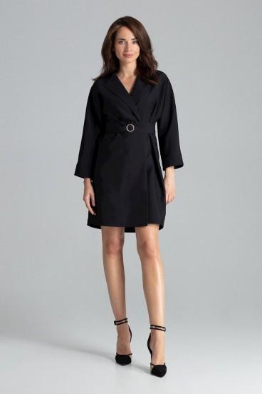 Krátke čierne zavinovacie šaty s opaskom a 3/4 rukávom model 135877 lf